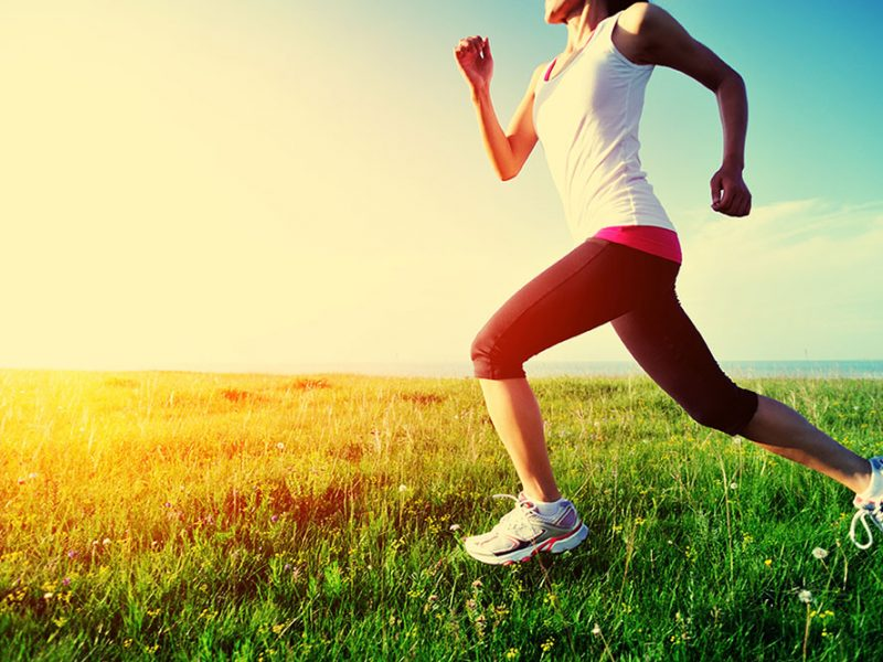 running through the grass