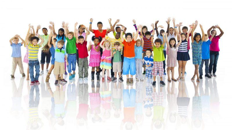 Group of children cheering