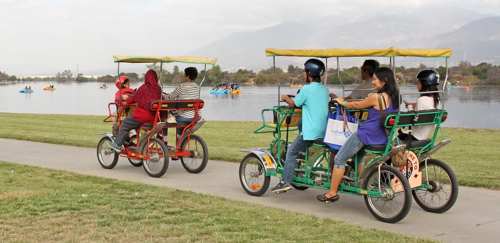 tandem bike carts at LA county park