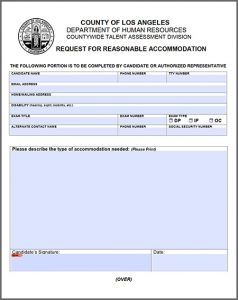 A document preview for a request for reasonable accommodation