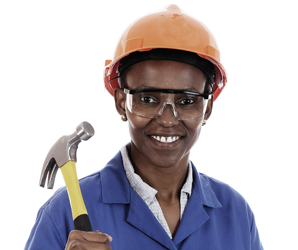 Women with hard hat and hammer