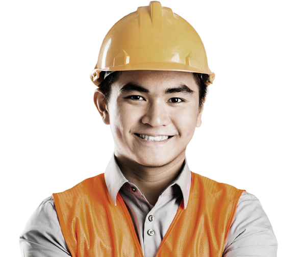 man wearing hard hat and safety vest