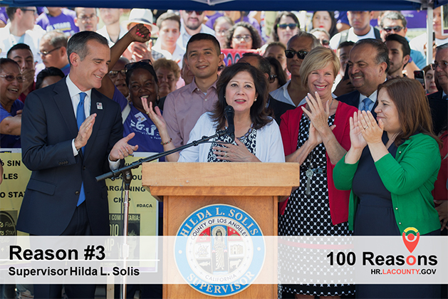 An image of Hilda Solis giving a speech.