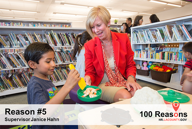 Portrait image of Janice Hahn at a library.
